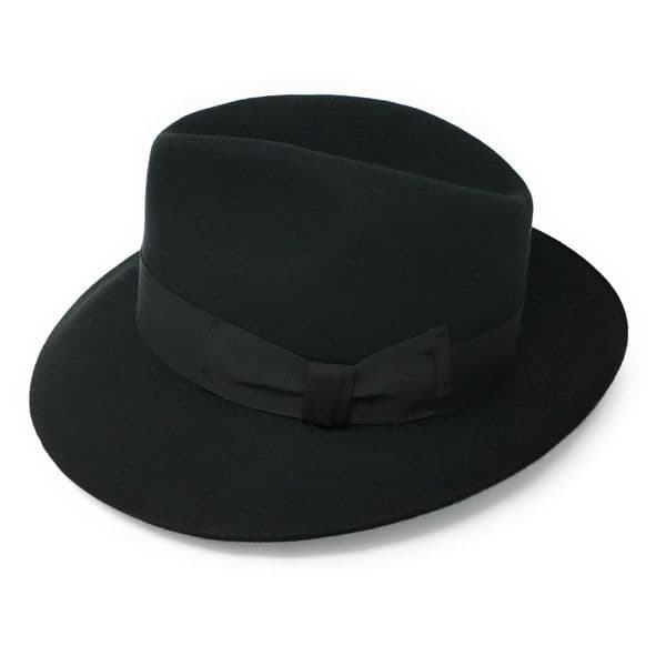 Womens Black Wool Snap Brim Fedora Hat - Midford